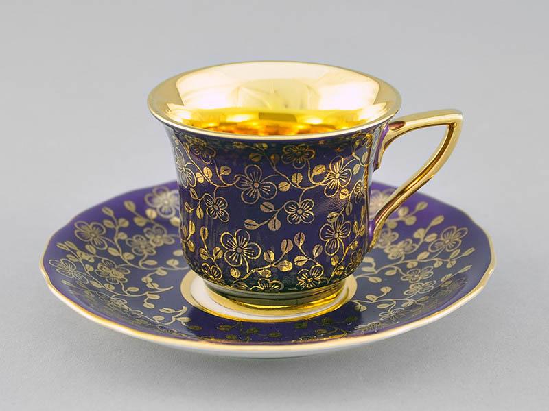 Фото Чашка кофейная с блюдцем 50 мл, Форма Виндзор Фиолетовый цветок