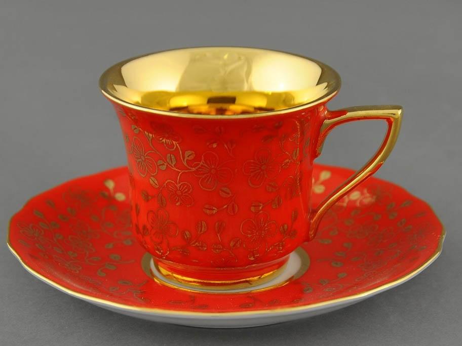 Фото Чашка кофейная с блюдцем 50 мл, Форма Виндзор Коралловый цветок