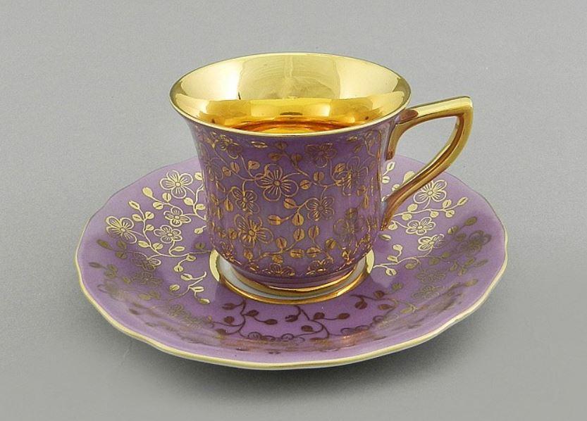 Фото Чашка кофейная с блюдцем 50 мл, Форма Виндзор Сиреневый цветок