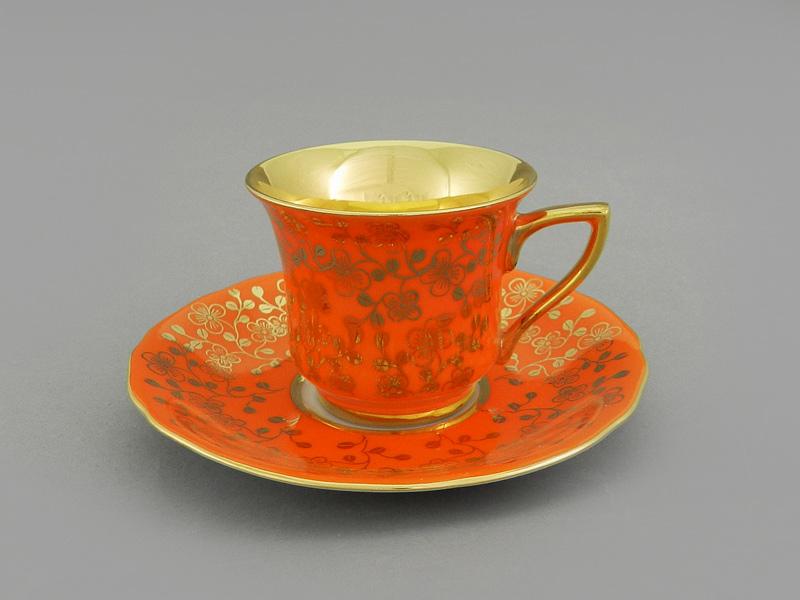 Фото Чашка кофейная с блюдцем 50 мл, Форма Виндзор Оранжевый цветок