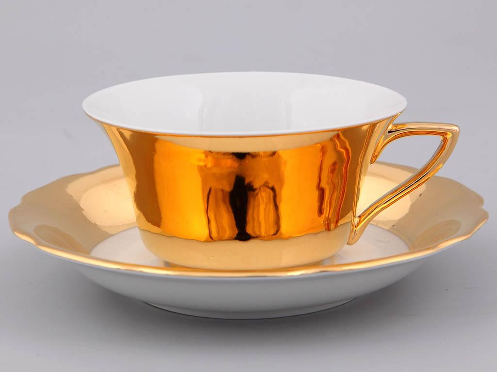 Фото Чашка кофейная с блюдцем 100 мл, Форма Виндзор Пламенное золото