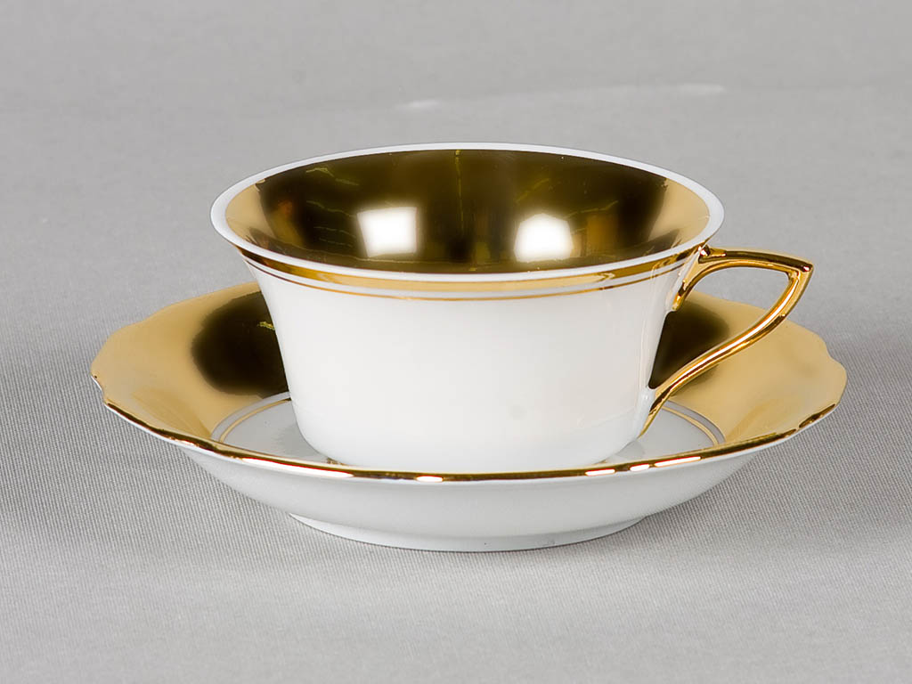 Фото Чашка кофейная с блюдцем 100 мл, Форма Виндзор Золотое сердце