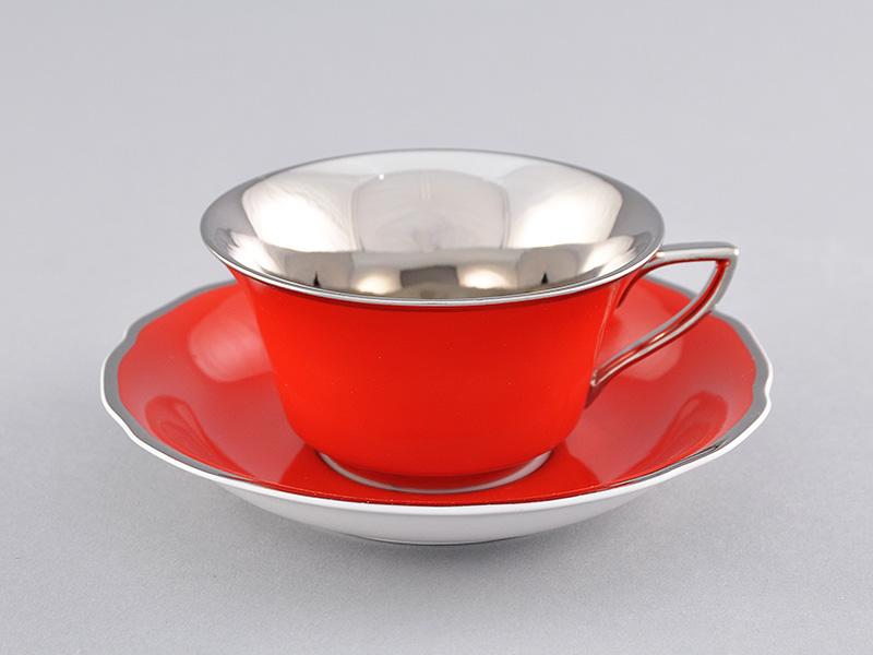 Фото Чашка кофейная с блюдцем 100 мл, Форма Виндзор Коралловый платина