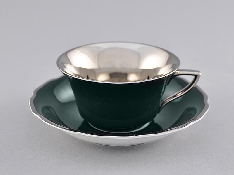 Фото Чашка кофейная с блюдцем 100 мл, Форма Виндзор Изумрудный платина