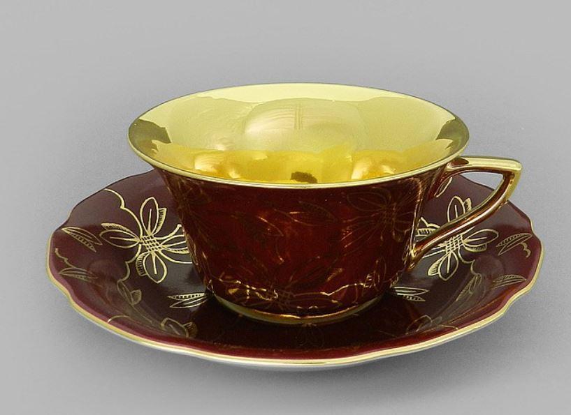 Фото Чашка кофейная с блюдцем 100 мл, Форма Виндзор Рубиновая магнолия