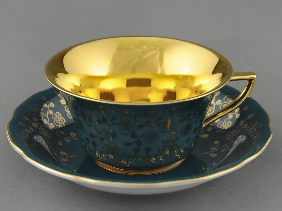Фото Чашка кофейная с блюдцем 100 мл, Форма Виндзор Изумрудный цветок