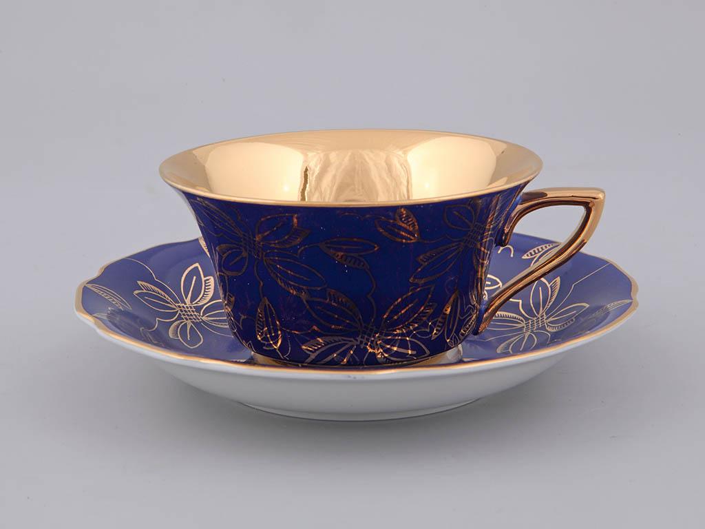 Фото Чашка кофейная с блюдцем 100 мл, Форма Виндзор Сапфировая магнолия