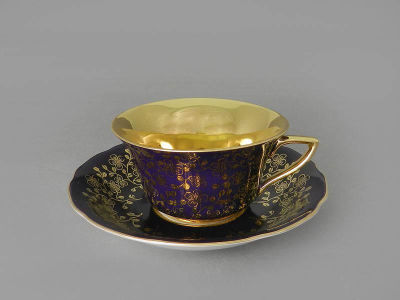 Фото Чашка кофейная с блюдцем 150 мл, Форма Виндзор Агатовый цветок голд