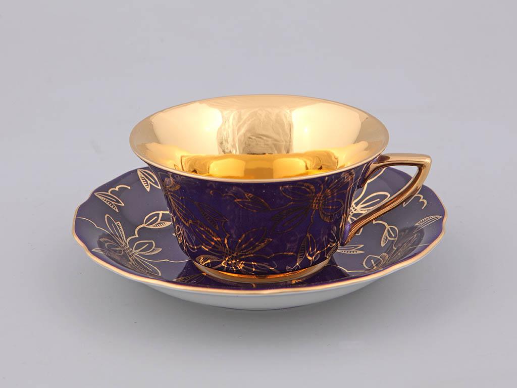 Фото Чашка кофейная с блюдцем 100 мл, Форма Виндзор Фиолетовая магнолия