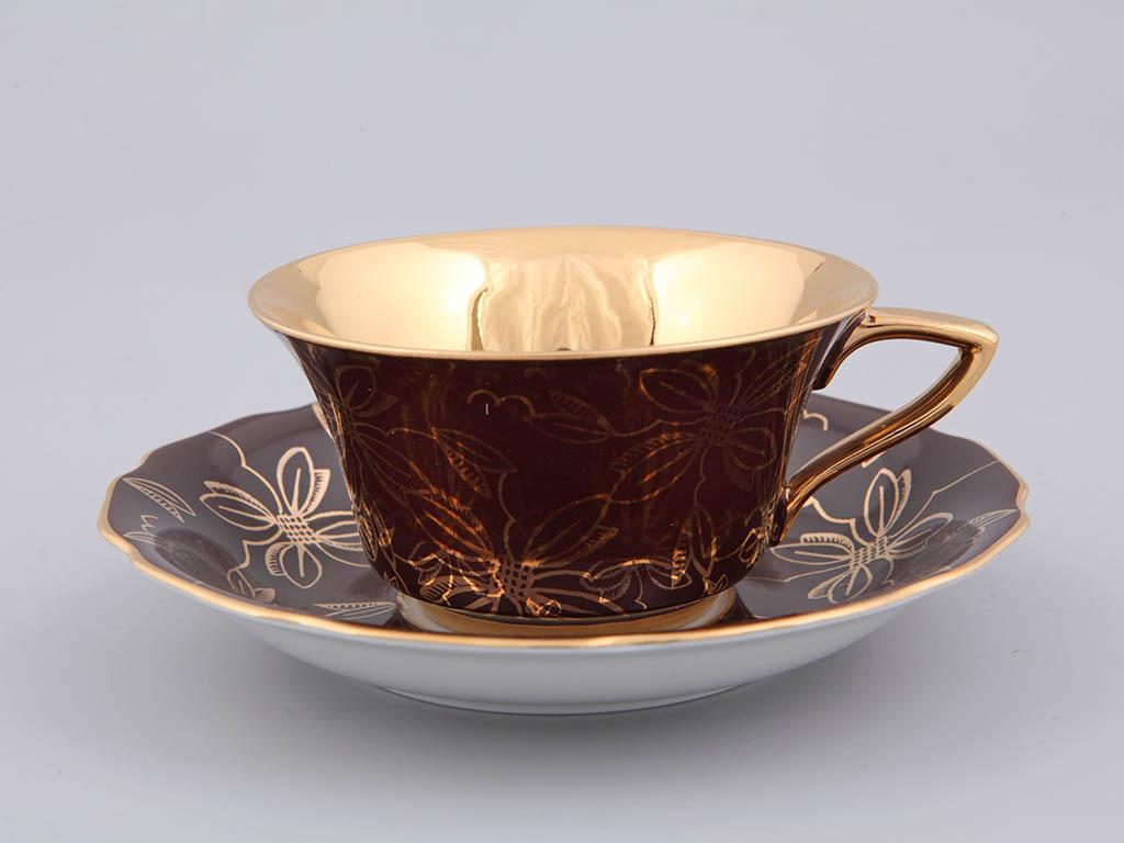 Фото Чашка кофейная с блюдцем 100 мл, Форма Виндзор Шоколадная магнолия