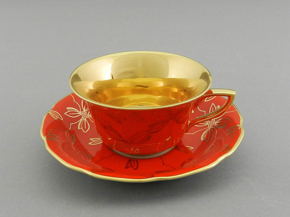 Фото Чашка кофейная с блюдцем 100 мл, Форма Виндзор Коралловая магнолия