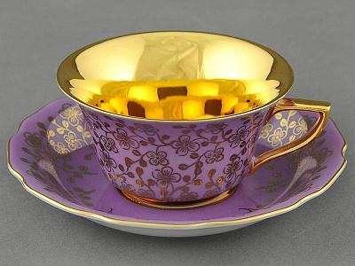 Фото Чашка кофейная с блюдцем 150 мл, Форма Виндзор Лиловый цветок