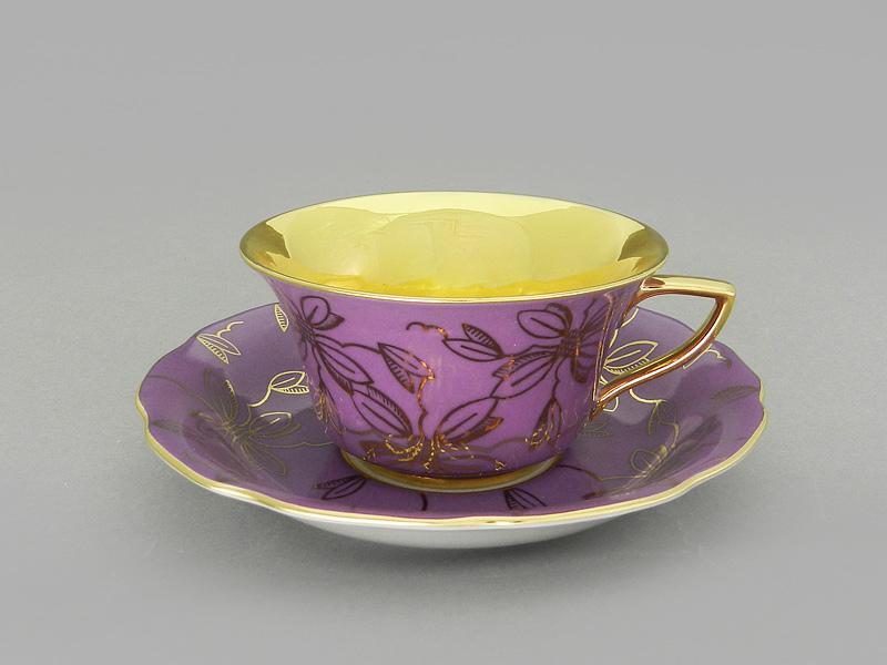 Фото Чашка кофейная с блюдцем 100 мл, Форма Виндзор Сиреневая магнолия