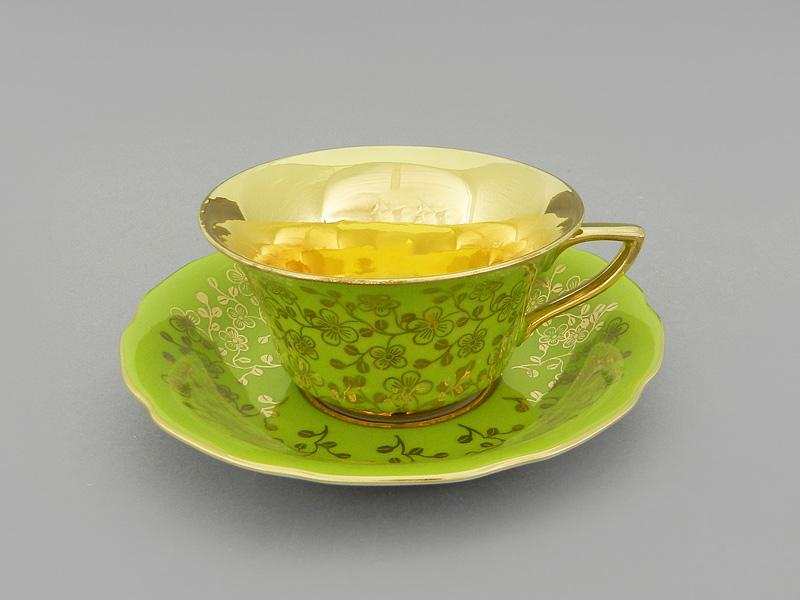 Фото Чашка кофейная с блюдцем 100 мл, Форма Виндзор Фисташковый цветок