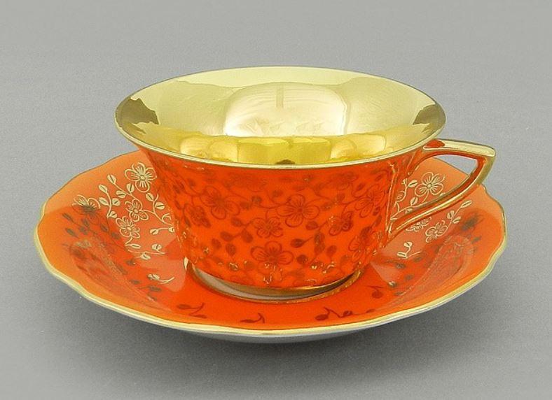 Фото Чашка кофейная с блюдцем 100 мл, Форма Виндзор Оранжевый цветок