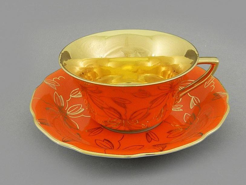 Фото Чашка кофейная с блюдцем 100 мл, Форма Виндзор Оранжевая магнолия