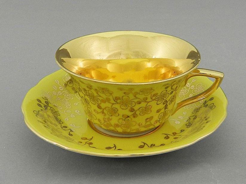 Фото Чашка кофейная с блюдцем 100 мл, Форма Виндзор Янтарный цветок