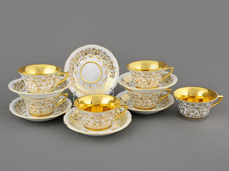 Фото Набор чашек кофейных с блюдцем 100 мл, 6 шт Форма Виндзор Золотой цветок