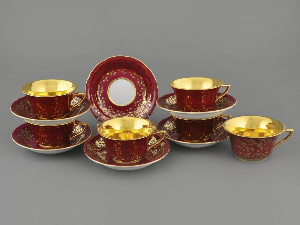 Фото Набор чашек кофейных с блюдцем 100 мл, 6 шт Форма Виндзор Рубиновый цветок