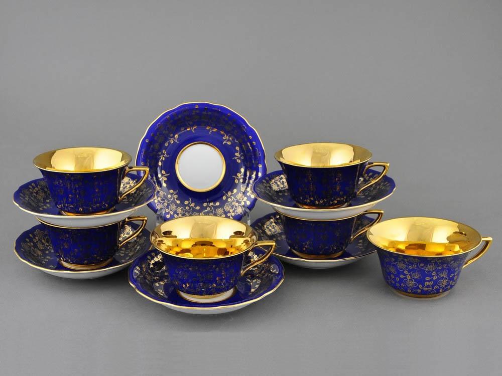 Фото Набор чашек кофейных с блюдцем 100 мл, 6 шт Форма Виндзор Сапфировый цветок