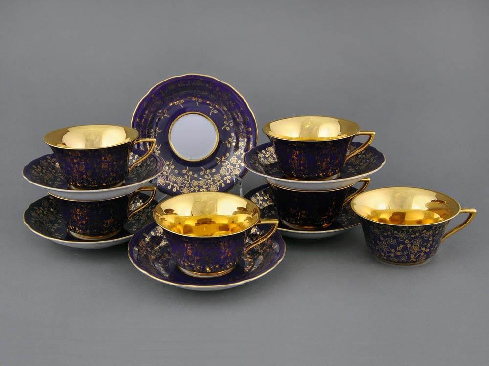 Фото Набор чашек кофейных с блюдцем 150 мл, 6 шт Форма Виндзор Агатовый цветок голд
