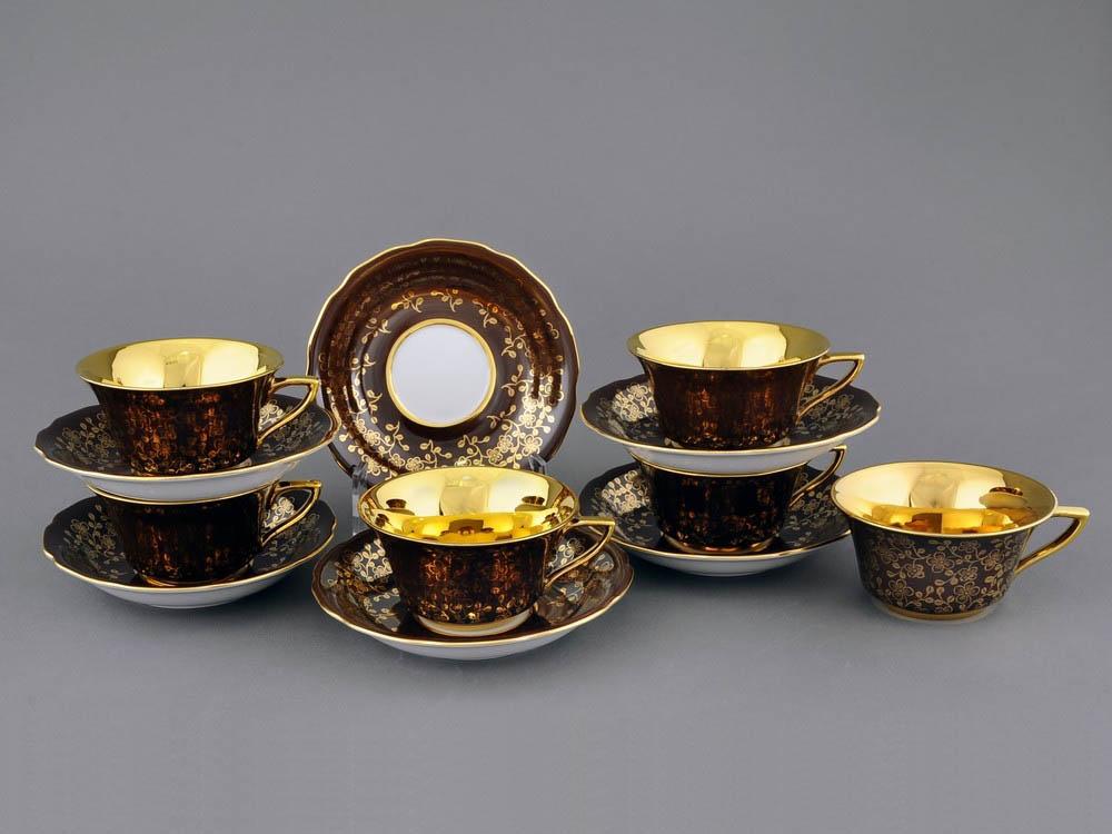 Фото Набор чашек кофейных с блюдцем 100 мл, 6 шт Форма Виндзор Шоколадный цветок