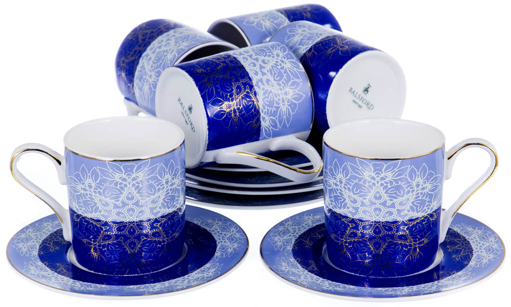 Фото Набор чашек кофейных с блюдцем Balsford Азур Форма Мармарис 100 мл 6 шт
