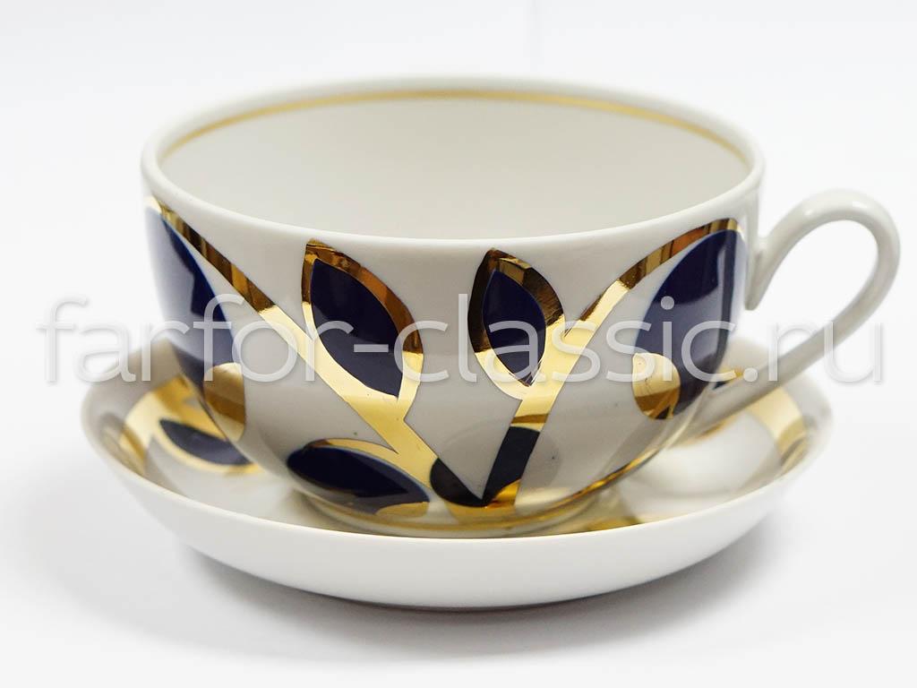 Фото Чашка с блюдцем Яблоки кобальтовые 400 мл