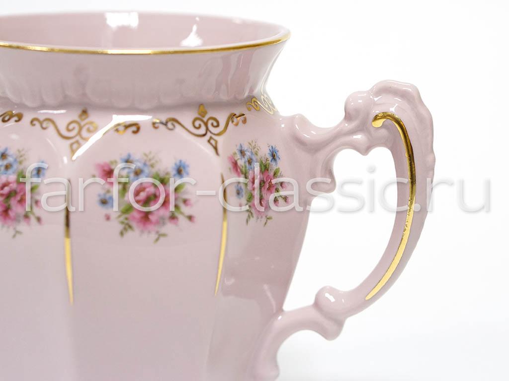 Фото Кружка 250 мл, Форма Олимп Полевые цветы розовый фарфор