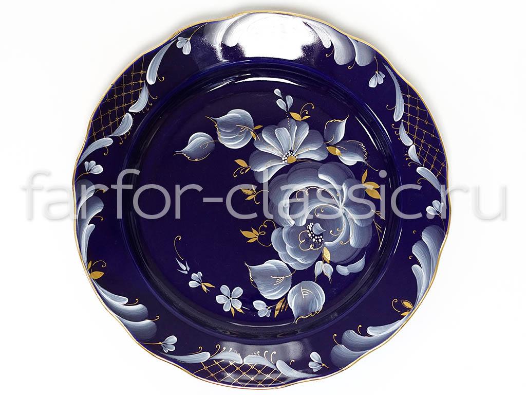 Фото Набор тарелок Гжель мелких 240 мм Вырезной край Глухой кобальт