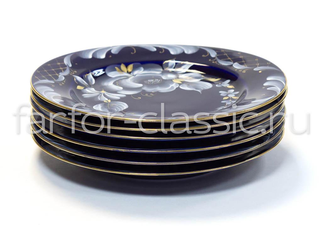 Фото Набор тарелок Гжель мелких 200 мм Гладкий край Глухой кобальт
