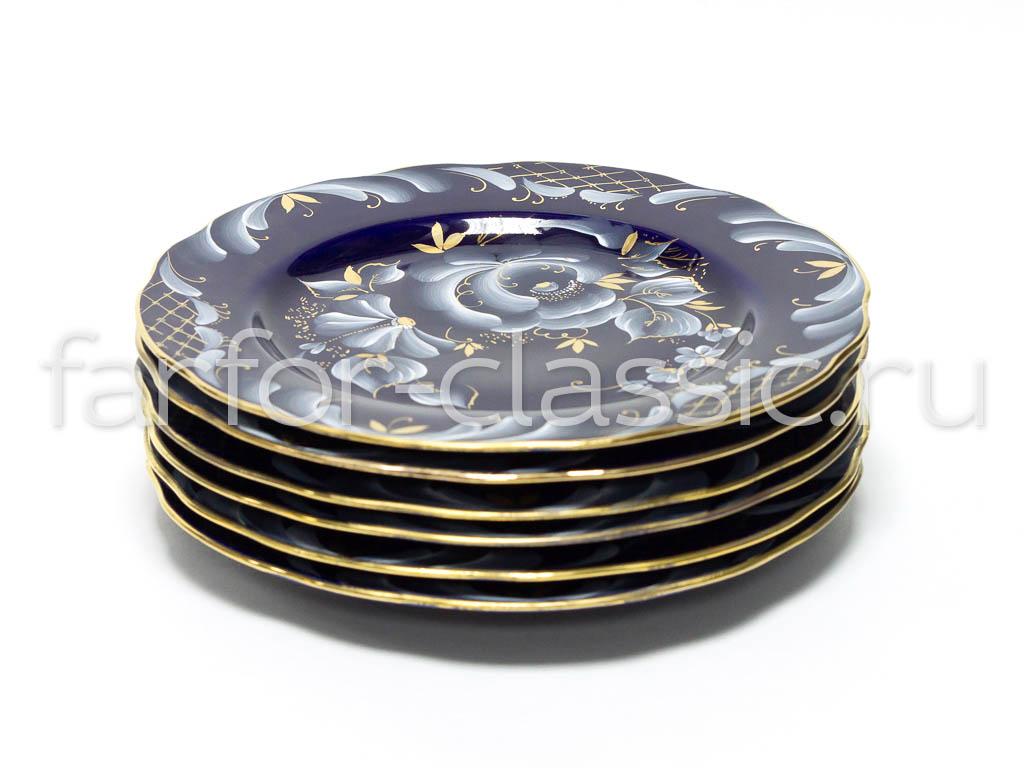 Фото Набор тарелок Гжель мелких 200 мм Вырезной край Глухой кобальт