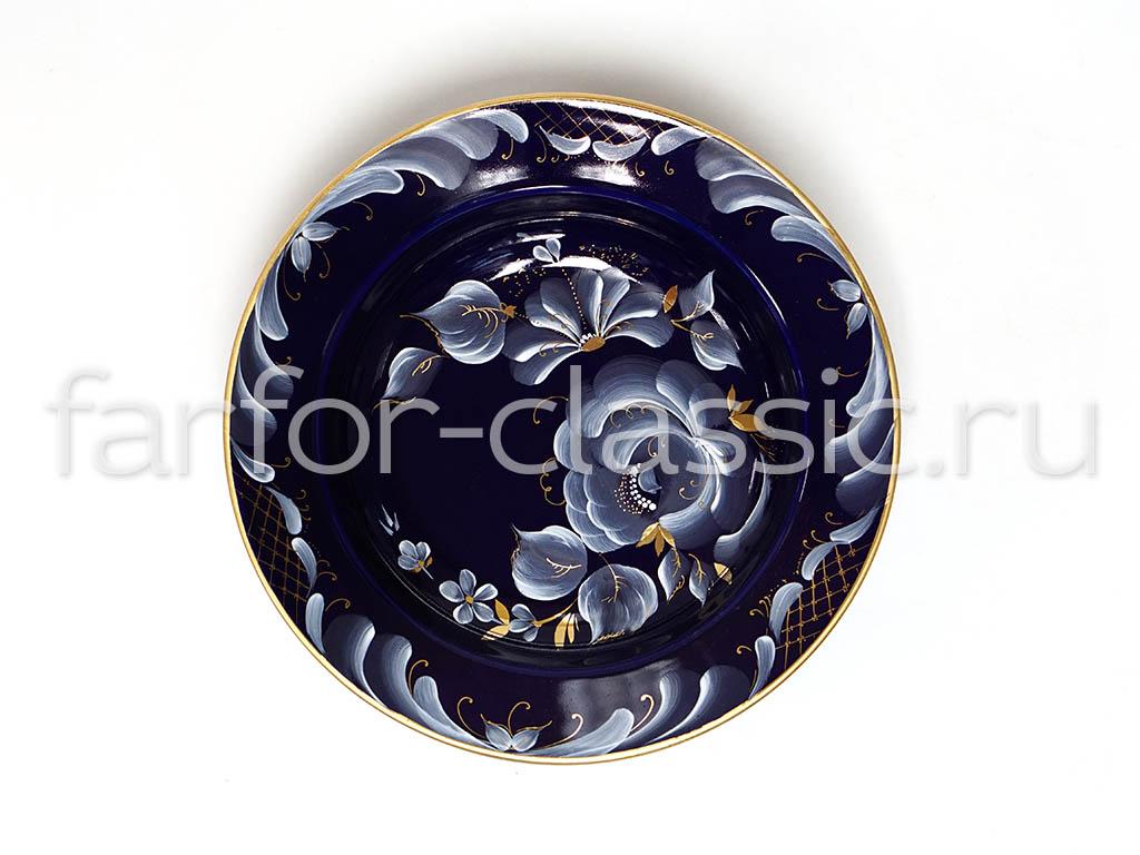 Фото Набор тарелок Гжель глубоких 200 мм Гладкий край Глухой кобальт