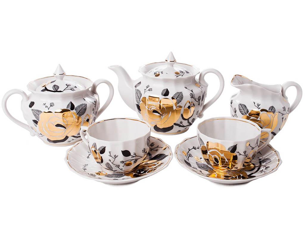 Фото Сервиз чайный Вербилки Ампир Золотая роза (Ветка), 15 предметов