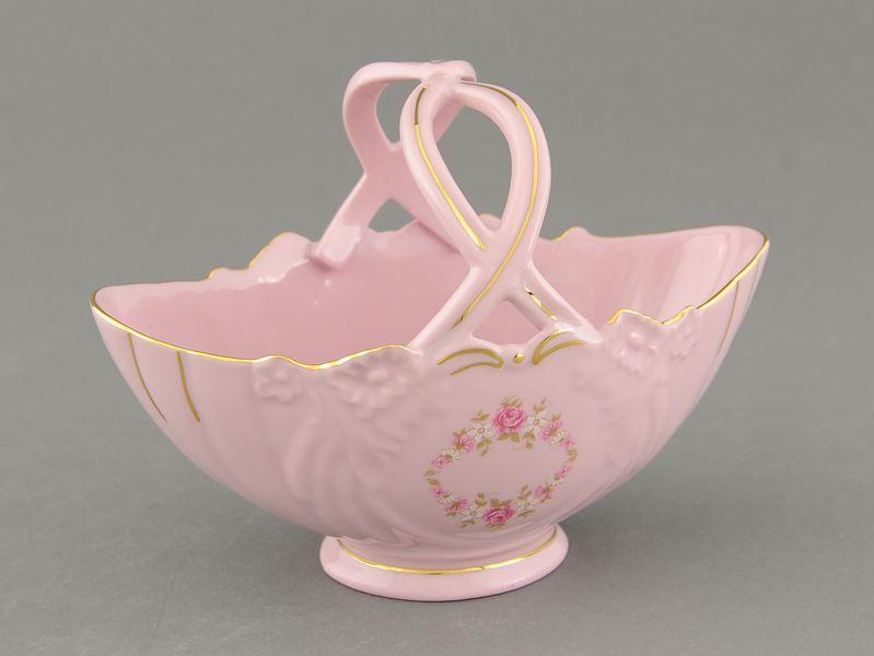 Фото Корзинка Леандер 18 см №4, Форма Соната Розовый бордюр - Розовый фарфор