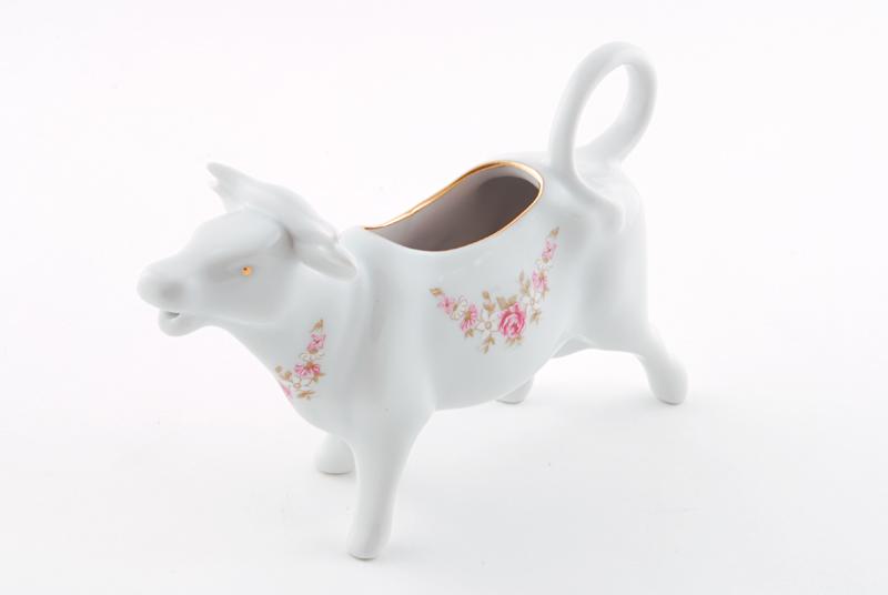 Фото Сливочник корова 70 мл Форма Соната Розовый бордюр