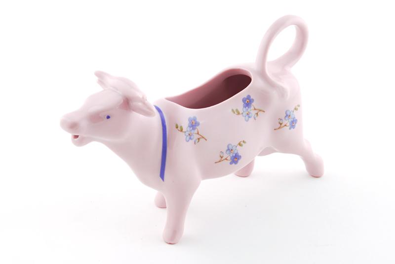 Фото Сливочник корова 70 мл Форма Мэри-Энн Незабудки - Розовый фарфор