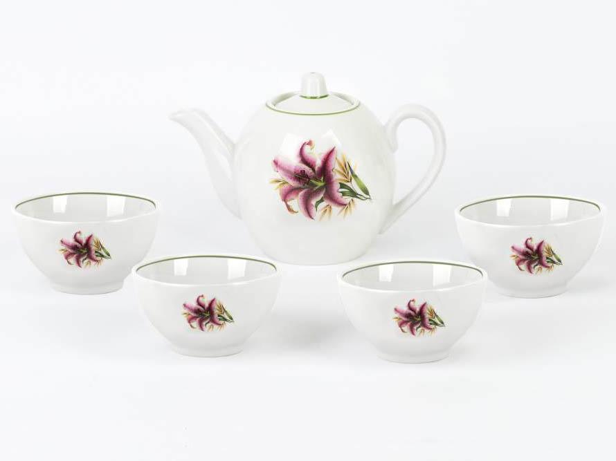 Фото Набор чайный Вербилки Розовая лилия форма Собрание, на 6 персон 7 предметов