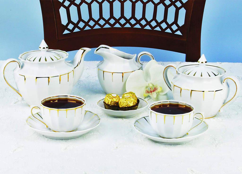 Фото Сервиз чайный Солнечный дождь 21 предмет Ампир
