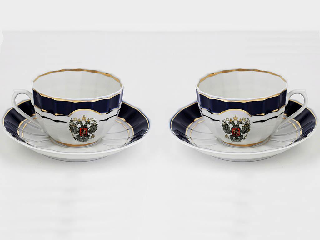 Фото Набор чайных пар 2 шт Герб России с кобальтовой лентой 200 мл Ампир