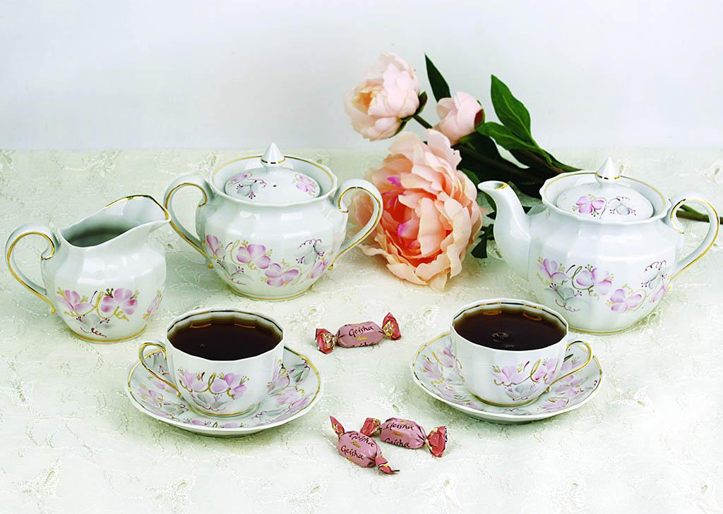 Фото Набор чайных пар 6 шт Весенний Версаль 200 мл Ампир