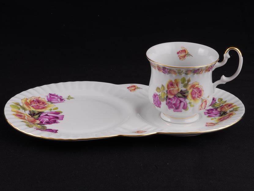 Фото Чайная пара 250 мл, поднос-тарелка, Форма Моника Бургундская роза