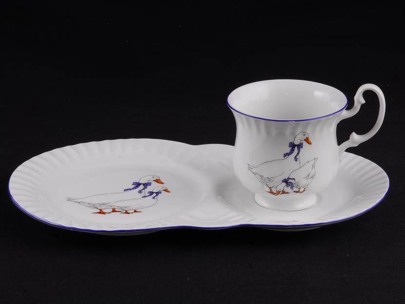 Фото Чайная пара 250 мл, поднос-тарелка, Форма Моника Чешские гуси