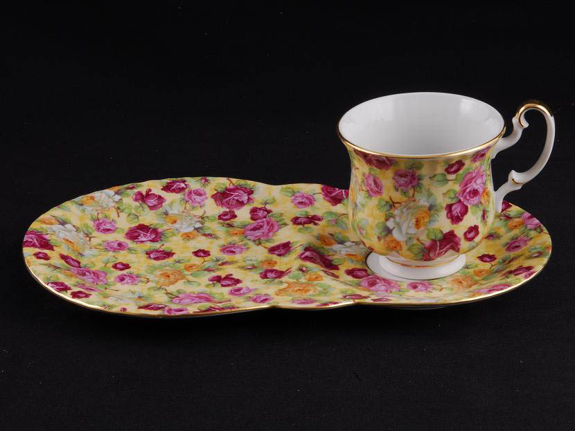Фото Чайная пара 250 мл, поднос-тарелка, Форма Моника Янтарь