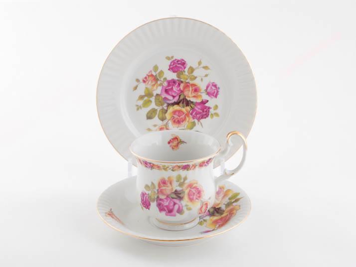 Фото Комплект чайный 250 мл, 3 предмета,  Форма Моника Бургундская роза