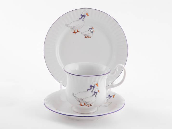 Фото Комплект чайный 250 мл, 3 предмета,  Форма Моника Чешские гуси