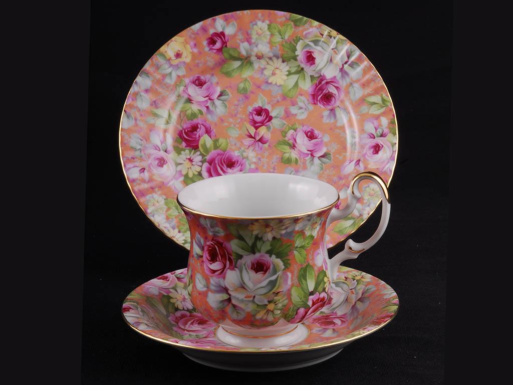Фото Комплект чайный 250 мл, 3 предмета,  Форма Моника Коралл