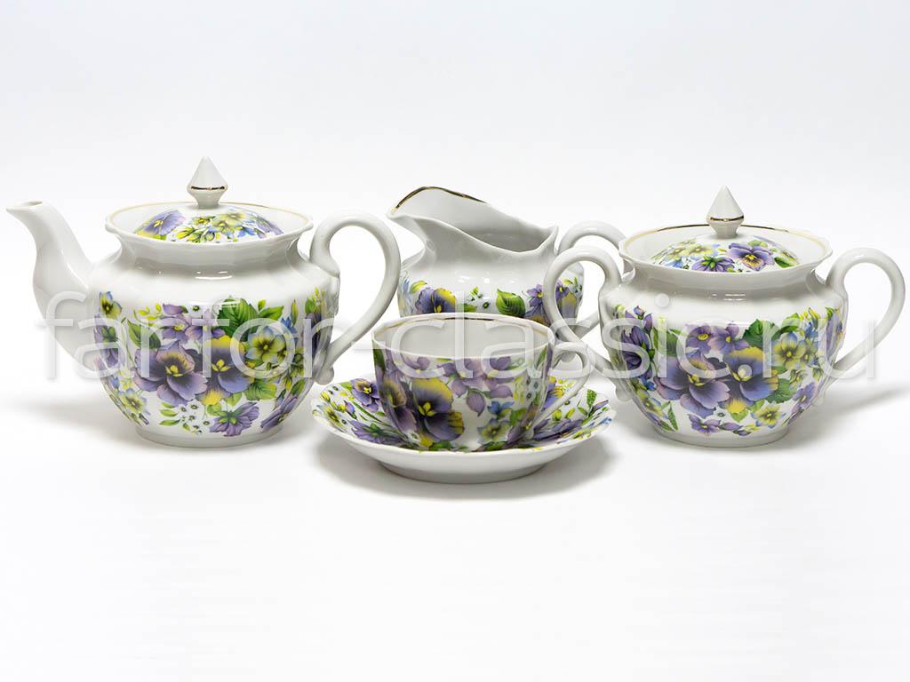 Фото Сервиз чайный Вербилки Ампир Фиалки, 15 предметов