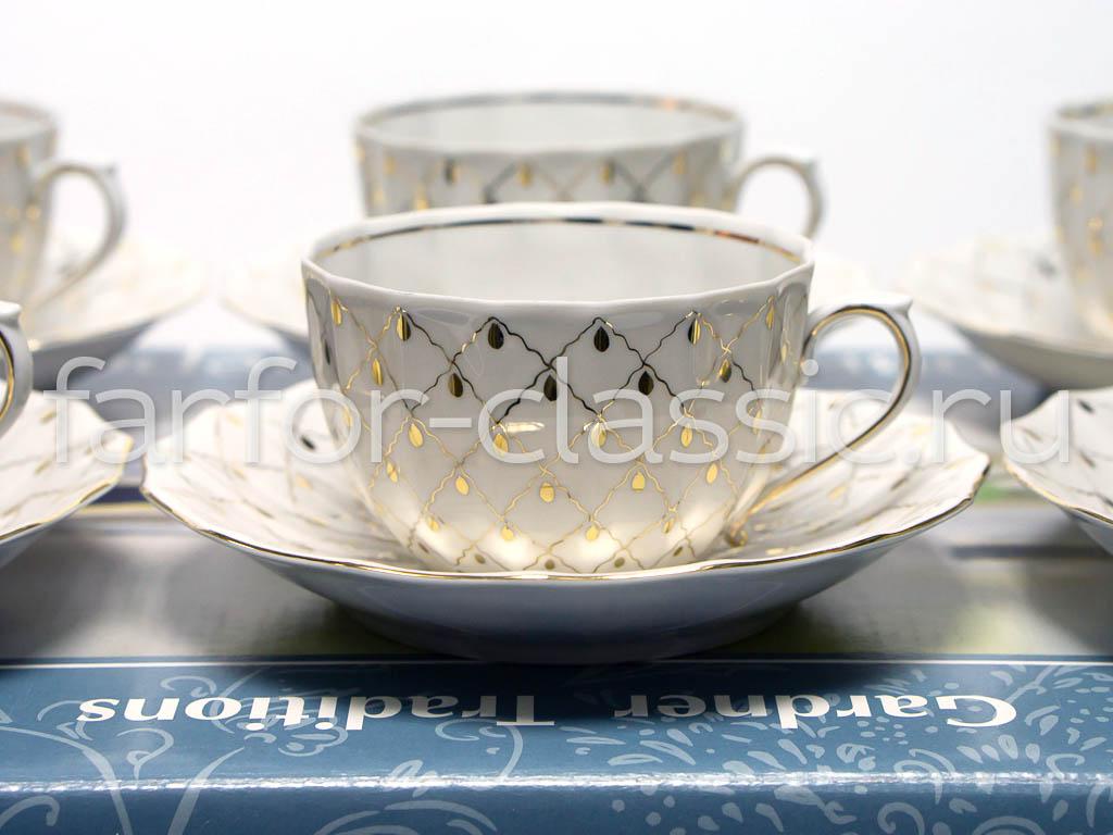 Фото Набор чайных пар 6 шт Золотая вуаль 200 мл Ампир