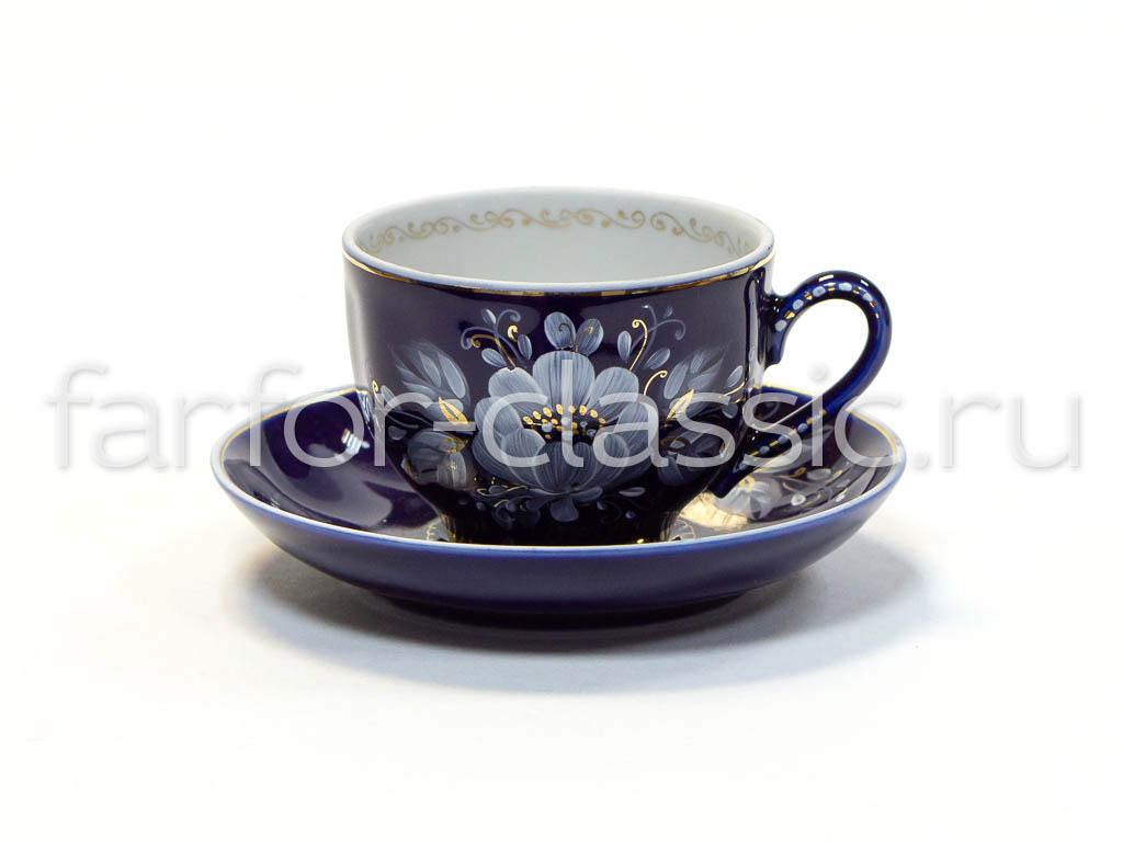 Фото Чашка кофейная с блюдцем 130 мл Гранатовый Глухой кобальт
